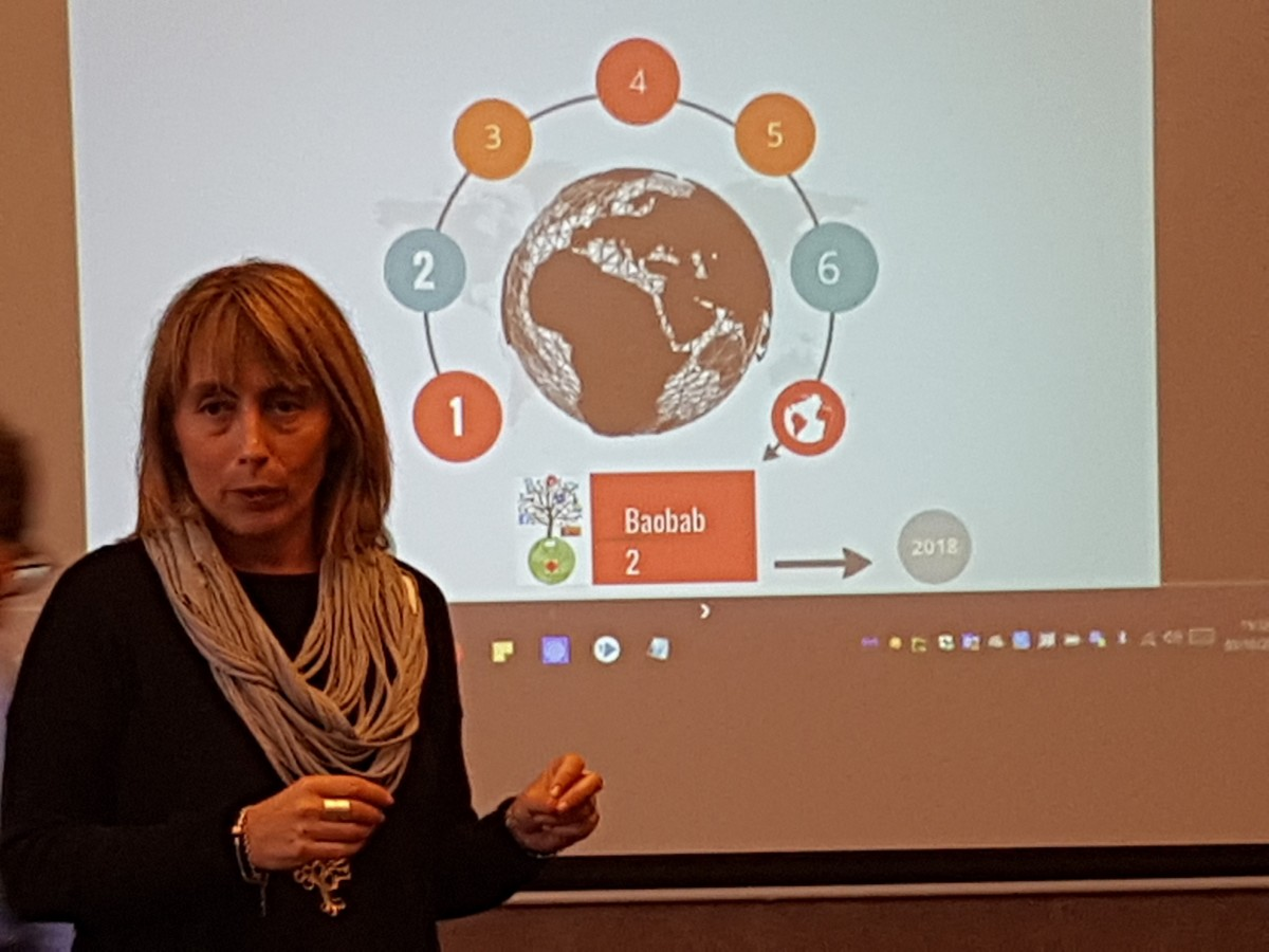 Francesca Frezza explains how Baobab contributes to caritas knowledge management - Photo: Sara Torvalds / Caritas Finland